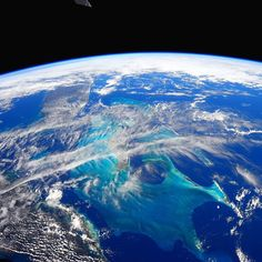 """""""Only one place on Earth where you can spot this shade of blue.  The Bahamas"""" Photo Credit Barry Wilmore: 123B8318  nasa"""