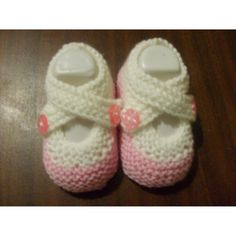 Hand Knitted Baby Shoes October 9 - white - how sweet are these?