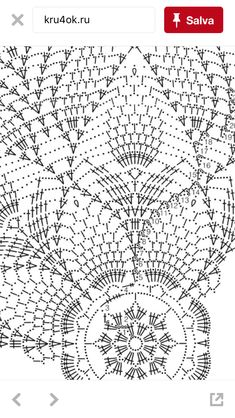 Diy Crafts - Crocheted Tablecloth with pineapple design Crochet Tablecloth Pattern, Crochet Doily Diagram, Crochet Chart, Thread Crochet, Crochet Motif, Crochet Doilies, Doily Rug, Diy Crafts Crochet, Crochet Home