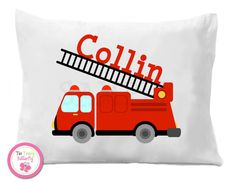 Fire Truck Personalized Pillow Case by TheTrendyButterfly on Etsy Monogram Pillowcase, Kids Birthday Gifts, Fourth Birthday, Baby Boy Shirts, Personalized Pillow Cases, Boy Quilts, Party Items, Soft Pillows, Goodie Bags