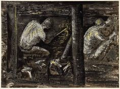 Henry Moore Miners Henry Moore Drawings, Coal Mining, Welsh, Family History, Painters, Lion Sculpture, Industrial, War, Artists