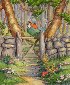 http://www.dailypaintworks.com/fineart/alida-akers/out-of-the-pasture-and-into-the-woods-storybook-cottage-series/253709
