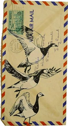 """Mail art - it doesn't have to be the """"right"""" side up Bird Illustration, Illustrations, Mail Art Envelopes, Art Postal, Postcard Art, Watercolor Postcard, Art Carte, Decorated Envelopes, Envelope Art"""