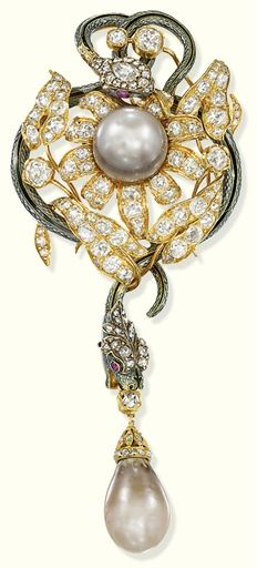 Antique Natural Pearl, Diamond And Enamel Brooch - France   c.1890's