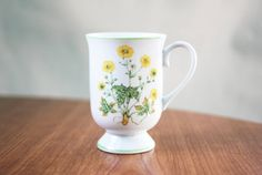 Yellow Flower Pedestal Mug by CircusBearVintage on Etsy, $8.00