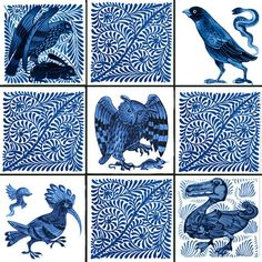 William De Morgan fantastic birds and scroll field tiles