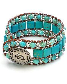 Turquoise Gemstone Cuff Bracelet Leather Cuff 3 Wrap Beaded