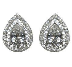 Hurley Pear Halo CZ Stud Earrings | Cubic Zirconia | Silver