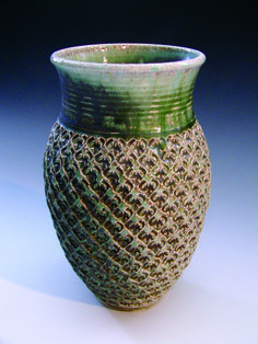 stamped & soda-fired vase by Gary Jackson : Fire When Ready Pottery