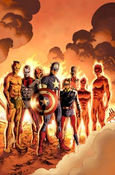 The Invaders, including the Golden Age Destroyer and the brother & sister heroes, Union Jack and Spitfire(who gained super-speed from a transfusion of the original android Human Torch's blood and who, also some time thereafter, was transformed into a true vampire when attacked by her nefarious relation, Baron Blood)