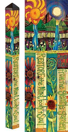Yard Art Crafts, Art N Craft, Garden Deco, Garden Art, Painted Branches, Peace Pole, Garden Poles, Pole Art, Painted Sticks
