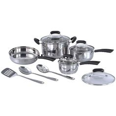 SPT - Stainless Steel Cookware Set - Aluminum core for superior heat conductivity and retention. Stylish polished stainless steel interiors and exteriors. Additional safety with stay cool handle and tempered glass cover. Cooking Supplies, Fun Cooking, Induction Cookware, New Homeowner, Cookware Set, Organizer, Kitchenware, Designer, 3 D