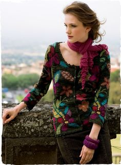 Beautiful Wildflower Pima Cotton Cardigan from Peruvian Connection. Unique designer women's sweaters, jumpers and cardigans, artisan made with finest pima cotton and alpaca. Exclusive Designs.