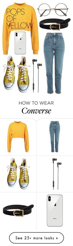 """""""Untitled #101"""" by hash-brown on Polyvore featuring Topshop, MANGO, B&O Play, Converse, PopsOfYellow and NYFWYellow"""