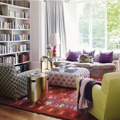 great mix of patterns and rather awesome ottoman