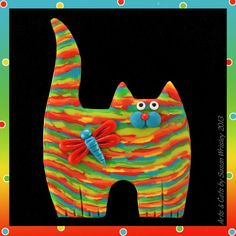 Standing Multicolor Rainbow Tabby Kitty Cat & Dragonfly Pin
