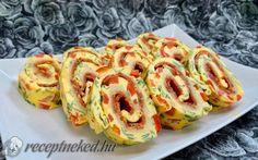Tojástekercs szalámival recept fotóval Salty Snacks, Tapas, Shrimp, Meat, Red Peppers, Savory Snacks