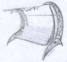 Ковка Эскиз Кованая садовая скамейка 01 Welded Furniture, Iron Furniture, Steel Furniture, Interior Architecture Drawing, Metal Drawing, Garden Swing Seat, Metal Worx, Swing Design, Art Nouveau Furniture
