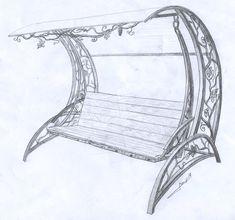 Ковка Эскиз Кованая садовая скамейка 01