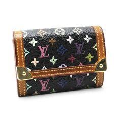 Louis Vuitton Porte Monnaie Plat Monogram Multicolore Wallets Black Canvas M92656