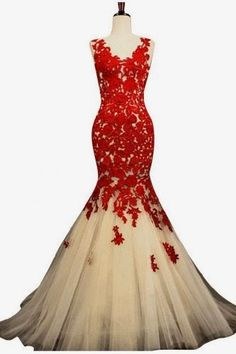 Champagne and Red Mermaid Lace Prom Dresses for Evening Formal Gowns Long |