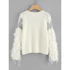 SheIn(sheinside) Lace Crochet Mesh Contrast Sweater (84 BRL) ❤ liked on Polyvore featuring tops, sweaters, white, embellished sweaters, long sleeve sweater, white long sleeve sweater, white pullover sweater and long sleeve lace top