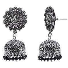 Black Beaded Indian Jhumka-Handmade Hook Earrings-Jaipur Jewellery Silvesto India PG-107030