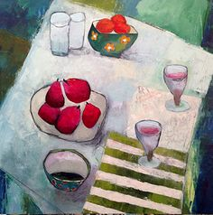 """Annie O'Brien Gonzales-Contemporary Abstract Still Life Art Painting """"For Two"""" by Santa Fe Artist Annie O'Brien Gonzales-http://annieobriengonzalespaintings.blogspot.com/2015/02/contemporary-abstract-still-life-art_27.html"""