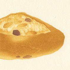 木版画「ぶどうパン」(額縁付き) | 彦坂木版工房