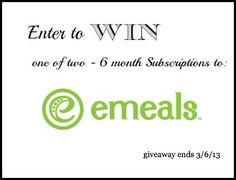 Enter to win 6 month subscription to Emeals meal planning website