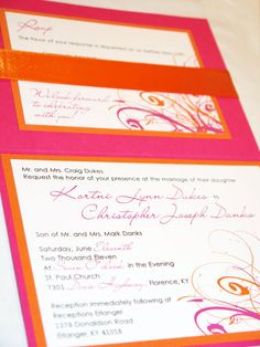 fucia pink, white and orange whimsical modern swirl with ribbon invitation on Etsy, $4.00