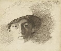 """""""Self-Portrait,"""" Charles Samuel Keene, about 1845. Pen and brown ink over black chalk."""