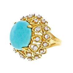 Jack Gutschneider Persian Turquoise Diamond Gold Dome Ring