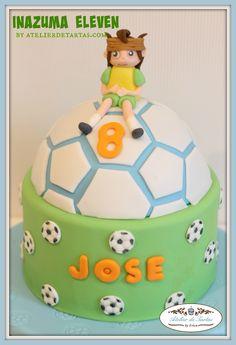 Atelier de tartas, tartas decoradas fondant, tarta fondant Inazuma Eleven, tartas cumpleaños fondant fútbol, decorated fondant cake mallorca
