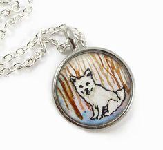 White Winter Fox original tiny art necklace of a little fluffy woodland creature. Cute!