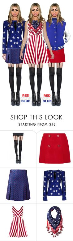 """blue /red❤🔷"" by faleiarafaela ❤ liked on Polyvore featuring Pretty Polly, Prada, Gucci, Gareth Pugh, RED Valentino and Steve Madden"