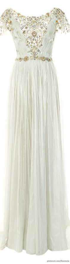 Silver and Lace: Marchesa ● Pre-Fall 2014, Pleated Silver Foil Chiffon Gown