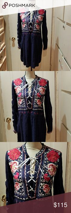 NWT Johnny was embroidered tunic SIZE S Nwt Johnny was embroidered tunic SIZE S Medium welcome  Johnny was workshop  Mica lace up Henley tunic Johnny Was Tops Tunics