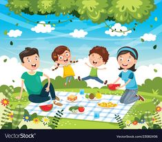 Of family picnic vector image on VectorStock
