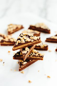 Vegan Caramel, Peanut Butter, and Chocolate Bark 45 mins to make, makes 18 pieces