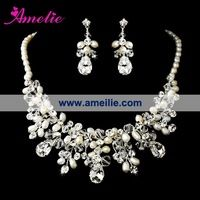 Gorgeous Silver Clear Crystal & Ivory Freshwater Pearl Necklace & Earring Set Bridal Jewellery Set