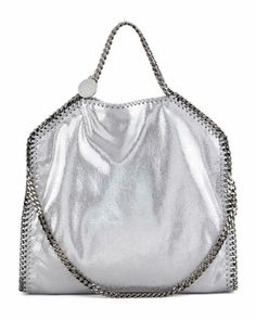 Falabella+Fold-Over+Tote+Bag,+Silver+by+Stella+McCartney+at+Neiman+Marcus.