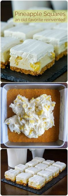 Pineapple Squares – an old no-bake Newfoundland Cookie Bar reinvented! - Pineapple Squares – an old no-bake Newfoundland Cookie Bar reinvented! Pineapple Squares – an old time Newfoundland Cookie Bar recipe thats been updated with. Easy Desserts, Delicious Desserts, Yummy Food, Make Ahead Desserts, Rock Recipes, Sweet Recipes, Fast Recipes, Healthy Recipes, Pineapple Squares