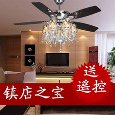 Luxury quality crystal triple ceiling fan light 52 6 lamp living room pendant light fashion fan light f682-2 US $548.46