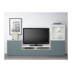 BESTÅ Comb arrum TV/portas vidro - branco/Valviken vidro transp turquesa acinz, calha p/gaveta, abert pressão - IKEA
