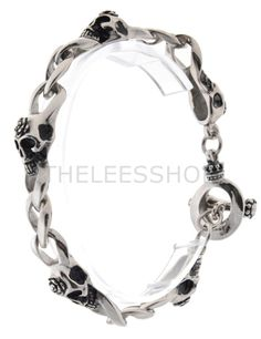 (KABR014-SILVER) Mens Stainless Steel Polished Silver Skull Chain Link Toggle Bracelet