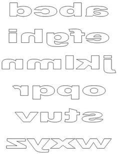 Printable Block Letters - Lower Case Reversed Letters