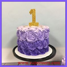 Ombré purple butter cream rose smash cake with edible gold #1 topper.