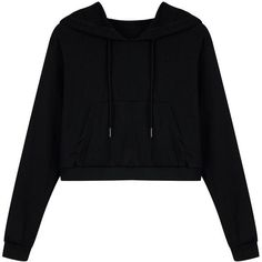 Black Drawstring Pouch Pocket Crop Hoodie ($23) ❤ liked on Polyvore featuring tops, hoodies, hooded sweatshirt, cropped hoodies, cropped hoodie, drawstring hooded pullover and sweatshirt hoodies
