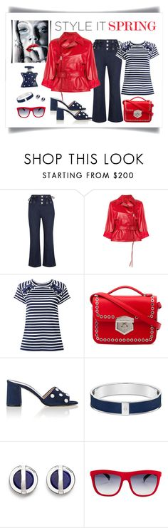 """""""Prada Red Leather Belted Biker Jacket Look"""" by romaboots-1 ❤ liked on Polyvore featuring See by Chloé, Prada, Sacai, Alexander McQueen, Barneys New York, W. Britt, Italia Independent and Bond No. 9"""
